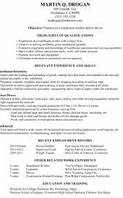 Summary For Resume Warehouse Position Awesome Sample