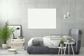 innen moderne schlafzimmer wandschablone stock foto