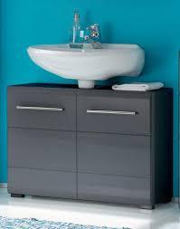 ᐅᐅ waschbeckenunterschrank schwarz stehend mit chrome griffen 2 trg grau metallic waschbeckenunterschrank