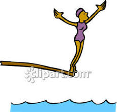 Diver Preparing To Jump Off A Diving Board Royalty Free Clipart
