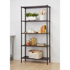Home Depot Canada Decorative Shelves by Trinity 36 In W X 72 In H 5 Tier Dark Bronze Slat Decorative