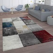 wohnzimmer teppich rot grau abstrakt karo muster modern gemälde kurzflor weich grösse 160x230 cm
