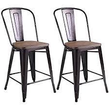 Costway Copper Set Of 2 Metal Wood Counter Stool Kitchen Dining Bar Chairs Rustic 295