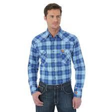 wrangler fr western blue plaid men u0027s work shirt fr137bl