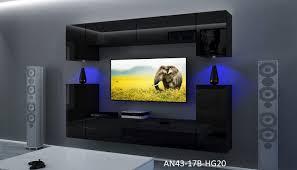 möbel für wohnzimmer schwarz und glänzend rodos nx 43