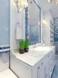 provence blau badezimmer trend badezimmermöbel in weiß ein großer spiegel mit mosaik rahmen blau weiß mischer spüle konsolen 3d übertragen