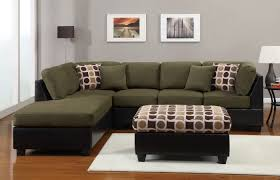 Espresso Leather Sectional Sofa With Right Chaise Lounge Using Dark Green Velvet Seat And Backrest Cover