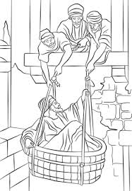 Click To See Printable Version Of Paul Escapes In A Basket Coloring Page