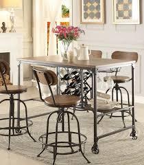 Homelegance 5429 36 Modern Industrial Metal Counter Height Dining Table Wine Rack