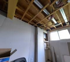 Ceiling Joist Spacing For Drywall by Basement Are These Studs Intended To Hold A Drywall Ceiling Or
