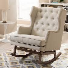 Eddie Bauer Rocking Chair by Contemporary Light Beige Fabric Rocking Chair By Baxton Studio