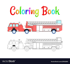 Fire Truck Coloring Book Coloring Pages Royalty Free Vector
