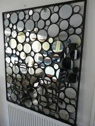 Contemporary Metal Wall Art Glass Pebble Mirror
