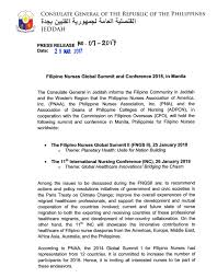 Cabinet Agencies Of The Philippines by Filipino Nurses Global Summit And Conference 2018 In Manila