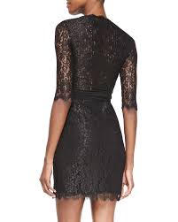 diane von furstenberg elisabeth jersey lace wrap dress in black lyst
