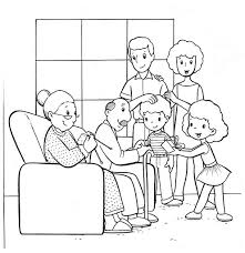 Family Members Colour Vintage Coloring Pages Of A