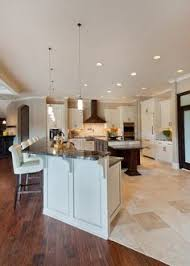 Tile To Hardwood Transition Roman Patterned Hard Wood Flooring White Bar With Black Granite Countertop