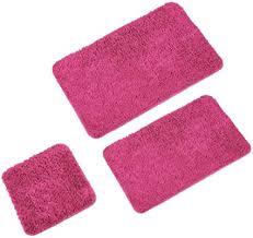 wohndirect badematten set 3tlg 3x badvorleger 45x45 50x80 60x100cm badteppich rutschfest waschbar ohne ausschnitt pink