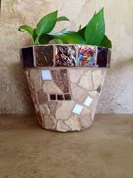 Rustic Mosaic Planter Large Flower Pot Indoor Herb Outdoor Garden
