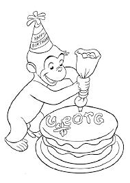 Kids Birthday Party Curious George Coloring Page