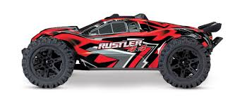 100 Stadium Truck Traxxas Rustler 4X4 110 Scale 4WD Brushed RTR Red