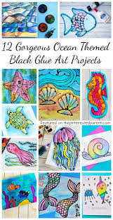 12 Gorgeous Ocean Themed Black Glue Art Projects Free Printables Included With Some Summer