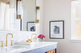 Industrial Bathroom Mirror Lights by Rosenheck Gold And Black Bathroom With Oxford Tall Linear Wall Lights