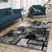 teppich wohnzimmer modern abstrakte kunst grau schwarz anthrazit größe 140x200 cm