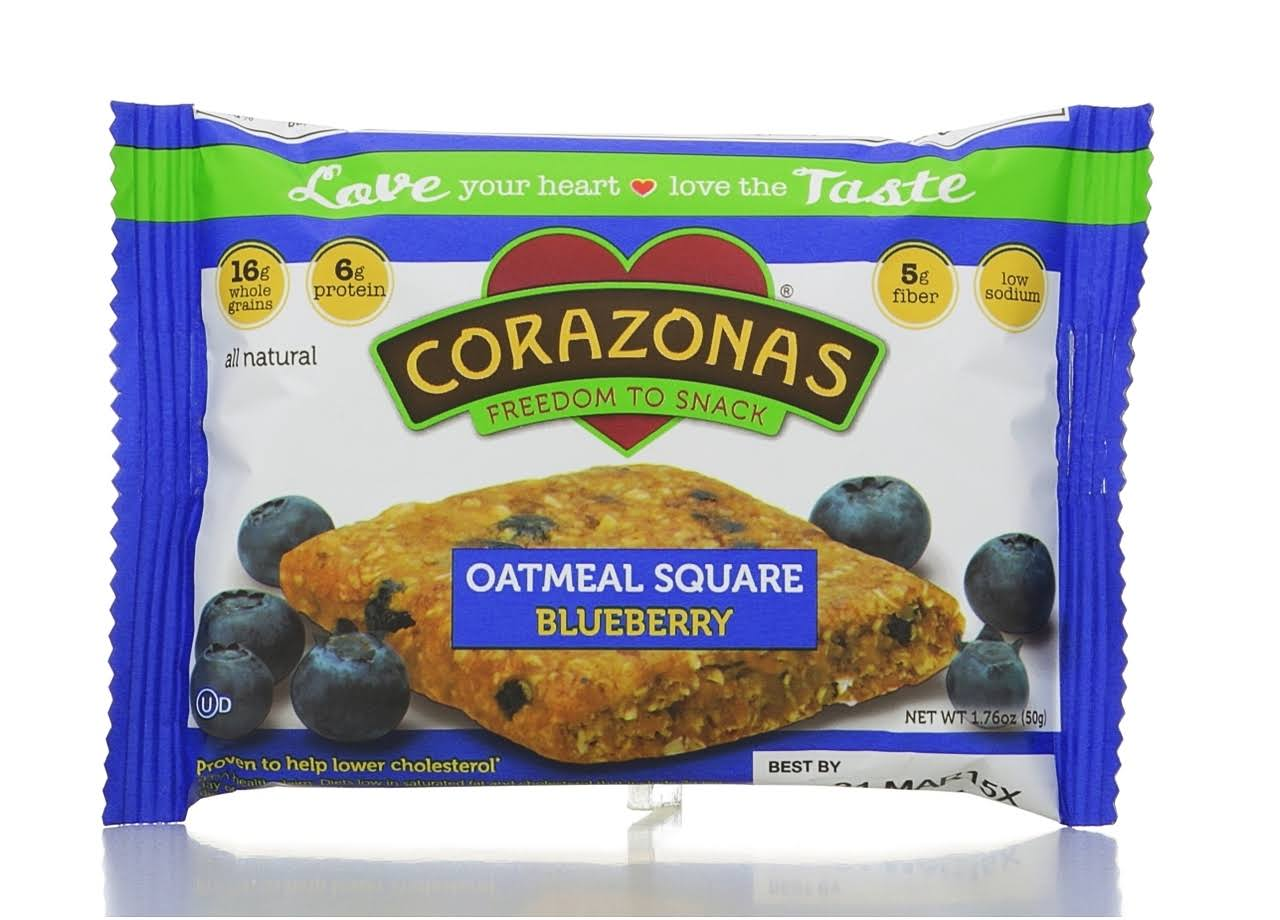 Corazonas Heartbar Oatmeal Squares - 50g, Blueberry, Pack of 12