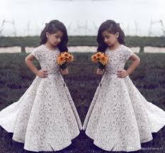 lace flower girl dresses wedding vintage jewel short sleeves