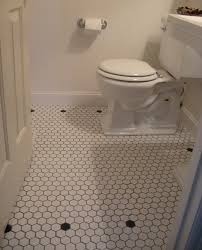 vintage style powder room white mosaic floor tiles traditional