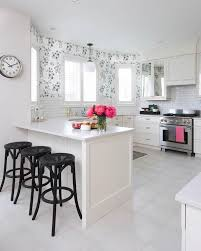 Black And White Kitchen With Pink Accents