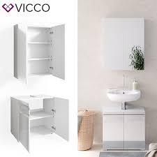 vicco badmöbelset freddy spiegelschrank unterschrank weiß hochglanz waschtisch