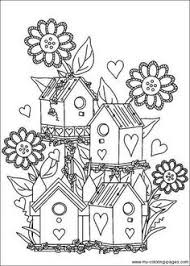 A Cute Little Whimsical House Digital Stamp With Pretty Surrounding Garden You Will Receive Black And White JPG Image 300 DPI Approximat