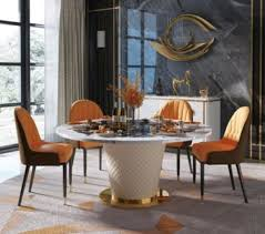 luxus esstisch runde esstische drehbarer wohn esszimmer rund tisch edelstahl neu