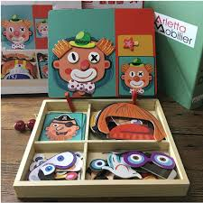 Magnetic Puzzle Wood Toy Wooden Puzzles For Kids Early Learning Educational Toys Cognitive Pretend Play Board