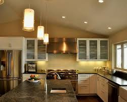 l shape kitchen decorating using cylinder clear glass mini pendant