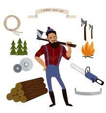 Download Lumberjack Timber And Woodworking Tools Vector Icons On White Background Stock