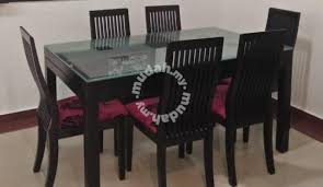 Tempered Glass Dining Table With 6 Chairs