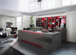 bauformat design insel küche grau lackküche hochglanz rote