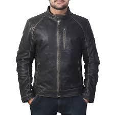 buy black mens biker leather jacket online at best price