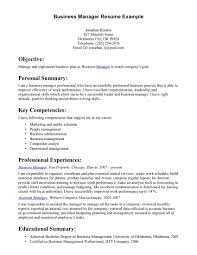 Business Management Resume Examples On Objective Example