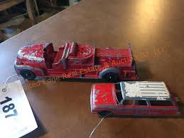 100 Tootsie Toy Fire Truck Hubley Toy Car W Boat Trailer United