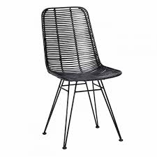 chaise pied metal chaise studio en rotin noir et pieds métal hübsch