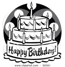 Happy birthday cake clipart black and white