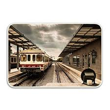 Door Mat Railway Station Non Slip Stain Fade Resistant Soft Living Dining Room Rug For