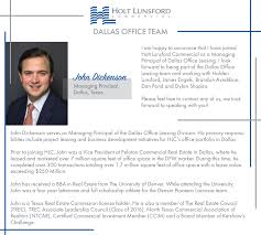 John Dickenson joins the HLC Dallas fice Team Holt Lunsford