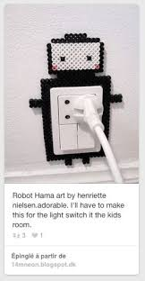 Robot Hama Art By Henriette Nielsen Ill Have To Make This For The Light Switch It Kids Roomslightly Different But Cute Idea
