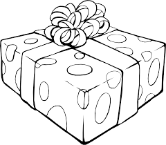 Spectacular Christmas Clip Art Black And White With Present Coloring Page Birthday