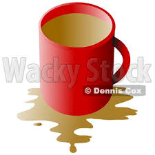 Clipart Of A Red Coffee Cup With Spill Over White
